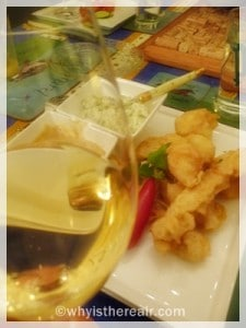 Spicy Crab Tempura pairs well with sweet white Bordeaux