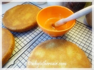 Moisten cake with lime juice and sugar syrup