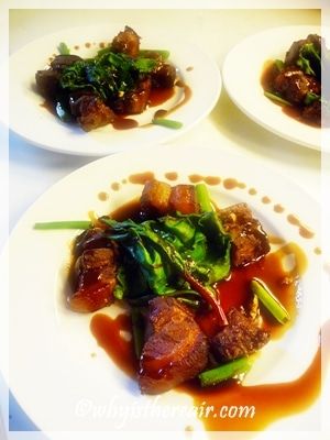 Hung Shao pork belly, beet greens