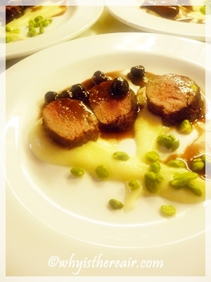 Venison and Visciole a mollo Cherries, parsnip purée, broad beans, parsnip crisps