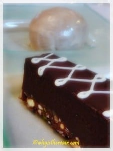 Reshmi Mithai: Pine nut, cashew & pistachio brittle with silky chocolate mousse, masala tea ice cream