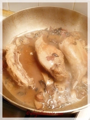 Braise the rabbit legs with a good glug of white wine