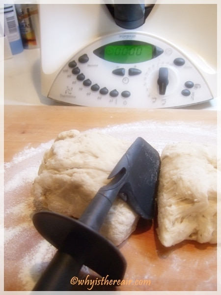 Divide the Khobz dough into two using your handy Thermomix spatula