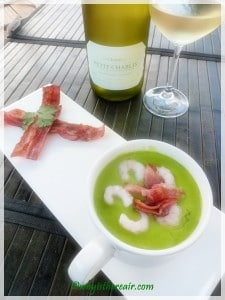 Our little prawns float nicely on top of the pea soup