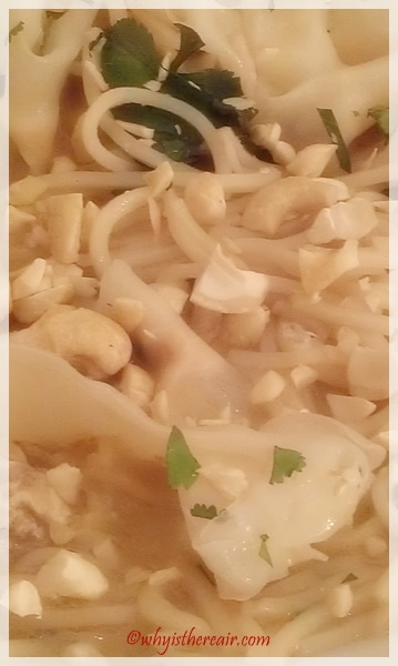 Peanuts and coriander leaves garnish my Thermomix Thai Soup