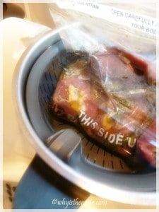 Thermomix as a Water Bath: 4.Place your sous-vide packaged lamb into the internal steamer basket and cook 50° C/25 minutes/Speed 2.