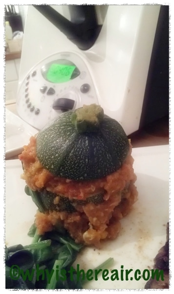 Here's one of my Courgettes stuffed with Finn Crisp Thin Sourdough Crispbread stuffing, waiting for its sauce