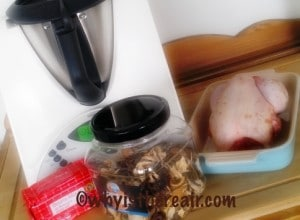 Dried mushrooms, butter and chicken make Madame Thermomix and ThermoHubby John very happy!