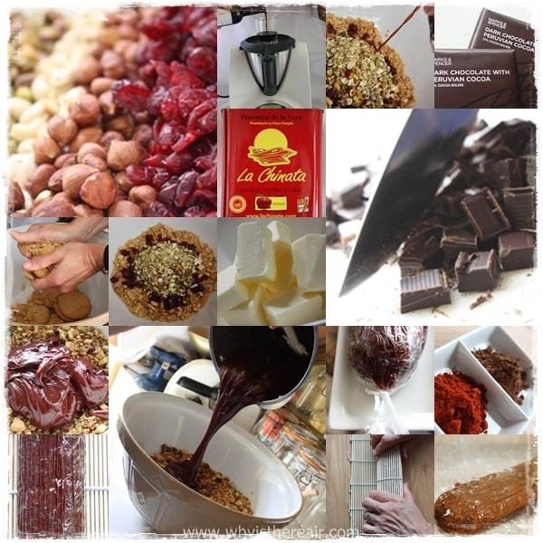 Various steps to make Chocolate Chorizo