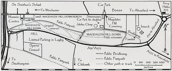 Map of Magdalen Hill Down Nature Reserve