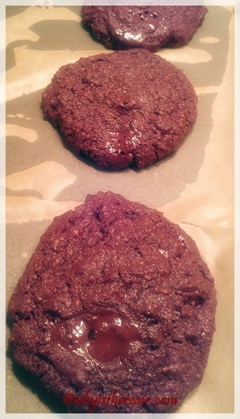 These GF Double Chocolate Cookies are irresistible when still warm and melty!