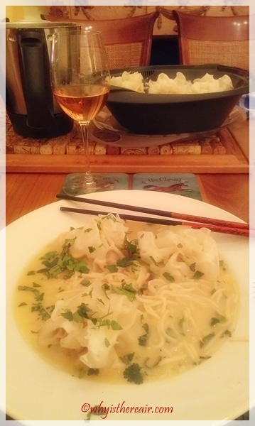 Delicious Thermomix Thai Soup with chow mein noodles and pork dumplings