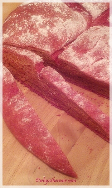 Beet Bread slices up nicely to reveal a quirky pink colour all the way through